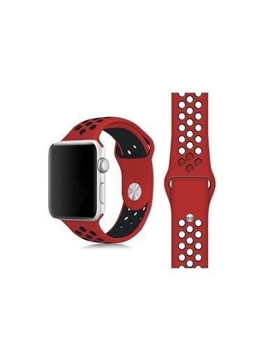 Jacobson Apple Watch 1 2 3 4 5 42-44 mm Spor Silikon Kordon Kayış Kırmızı Nike Edition Kırmızı